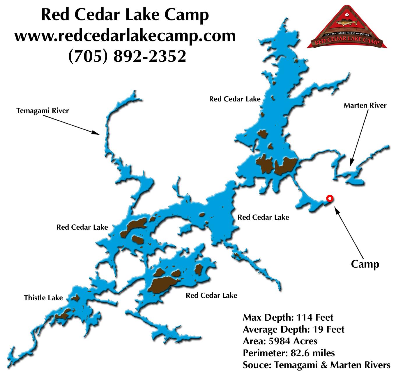 Map of red cedar lake for Red lake ontario fishing